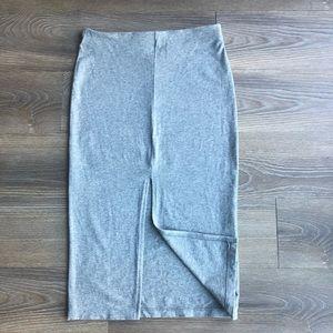 Gray Front Slit Spandex Pencil Skirt